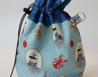 Small drawstring project bag sea captain
