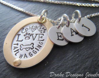 Dog mom initial necklace personalized pet mom jewelry. gold rimmed Mixed metal paw print necklace