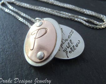 Personalized rose gold locket initial necklace with custom hand stamped message in  sterling silver and gold fill