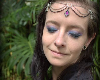 Purple Teardrop Head chain & Celtic Triforces. Perfect for your festival look! Ready to wear!
