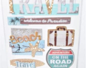 Travel Theme 3-D Multilayered Stickers with Glitter Accents