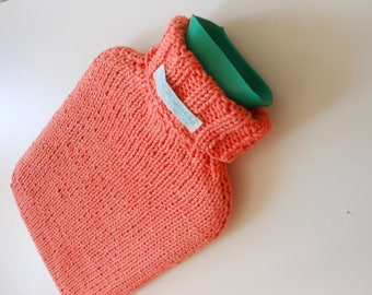 TheCraftyElks: Hand Knitted Hot Water Bottle Cover (Cosy) in Coral Pink - 100% Cotton
