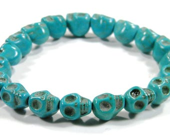 Small Turquoise or Blue Day of the Dead Skull Bracelet (Dia De Los Muertos - All Saints Day)