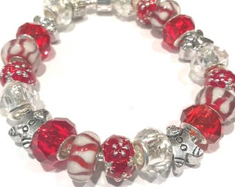 Candy Cane Gingerbread Man Holiday Charm Bracelet w Red Beads