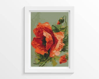 Poppy Cross Stitch Kit, Poppies Cross Stitch, Embroidery Kit, Art Cross Stitch, Flowers Cross Stitch, Catherine Klein (KLEIN04)
