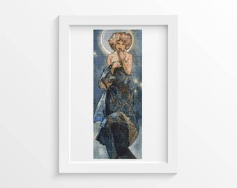Mucha Cross Stitch Kit, Claire Du Lune Cross Stitch, Embroidery Kit, Art Cross Stitch, Woman Cross Stitch, Alphonse Mucha (MUCHA20)