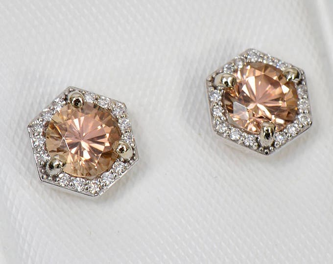 UPRISING SALE! Fantastic Peach Zircon and Diamond Earrings in 14kt White Gold 1.64 tcw.