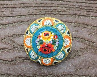 Vintage Italian Mosaic Made in Italy Pin Brooch #2