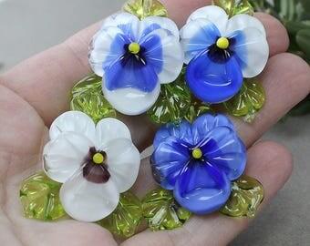 Pansy, Lampwork Beads - set of 4pc Lampwork Pansy, Glass Beads, Pansy Beads, Glass Beads, Floral Lampwork, Lampwork Flower, Lampwork Beads
