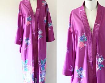 1970s purple floral robe // 1970s robe dress // vintage robe