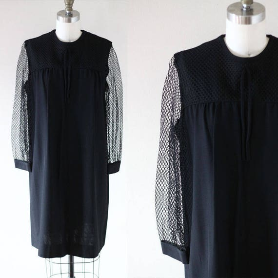 1960s black mesh dress // 1960s tie front dress // vintage dress