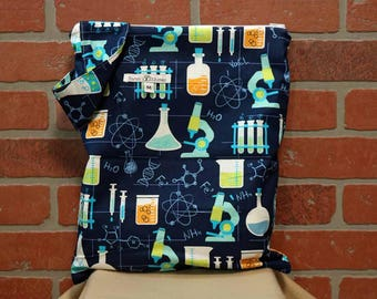 Cloth Diaper Wetbag, Science, Diaper Bag, Day Care Size, Holds 5 Diapers, Size Medium with Handle item #M56