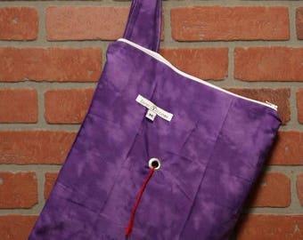 Medium Knitting Bag, Crochet, Knit, Yarn, Wool, Purple, Yarn Storage, Yarn Bag with Hole, Grommet, Handle, MYB11