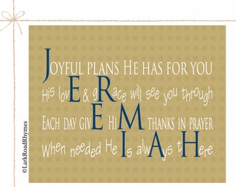 Baby Christening Gift Personalized Baptism Gift From Godparents Christening Gifts Godchild Gifts Christian Baby Gift Name Poem 8x10 Jeremiah