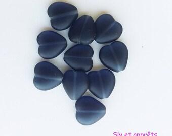 Black 12mm heart shaped 8 beads