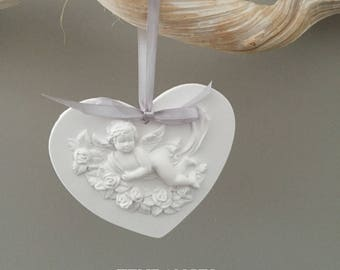 Heart Angel in ceramic and Grey Ribbon