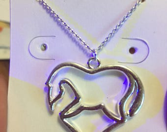 Heart Horse Sterling Silver Necklace