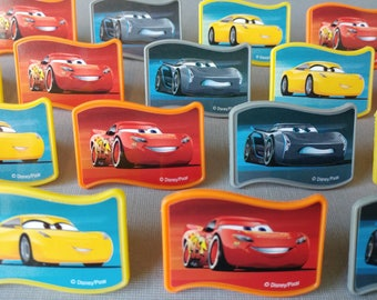 24 CARS 3 Disney Pixar rings cupcake toppers cake birthday party favors goodie bags decorations Lightning McQueen Jackson Storm Cruz Ramirez