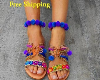 25% Off Greek Sandals ''Forget-me-not'' | Ankle Strap Boho Sandals | Pom Pom Sandals | Bohemian Shoes