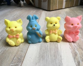 Vintage Rubber Yellow Cat, Yellow Bear, Pink Cat and Blue Rabbit Baby Toy