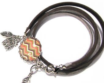 """Bracelet cabochons """"zig zag"""" pattern, Indian and feather"""