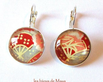 Earrings studs - red, pink and gray Japanese paper