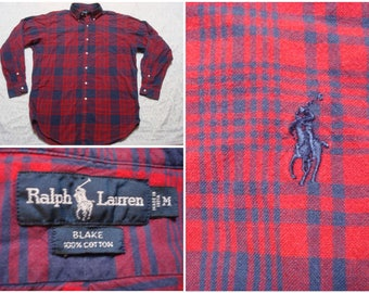 Vintage Retro Men's 90's Polo Ralph Lauren Blake Dress Shirt Red Blue Plaid Buttonup Long Sleeve Oversized Medium