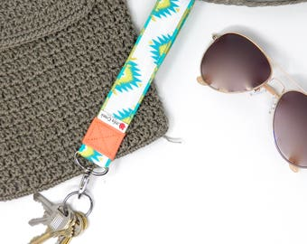 Southwestern wristlet keychain, Metallic gold accents with teal grean and coral loop keyring, aztec tribal key fob