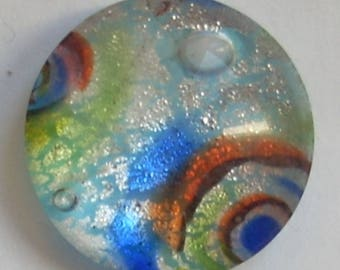 Dichroic Glass cabochon round multicolor spiral 16mm x 1