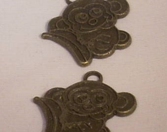 set of 2 monkeys Tibetan charms 20x22mm bronze