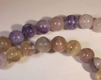 10 pearls in 8mm Amethyst gem stone