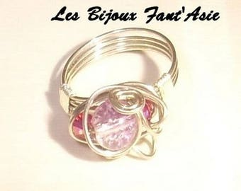 Ring in copper wire with purple cracked glass beads and swarovski bicone beads