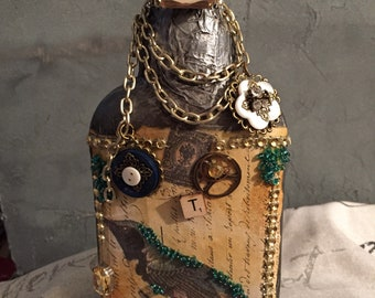 Altered bottle , steampunk , mixed media bottle , vintage style art bottle ,shabby chic decor