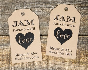 Jam packed with Love Tag - Wedding Favor Tags - Jam Wedding Favors - Spread Wedding Favors - Marmalade Favors - Honey Wedding Favors - SMALL