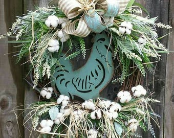 Rooster wreath, Rooster Grapevine wreath,  Cotton wreath, cotton Grapevine wreath,  cotton wreaths, Rustic farmhouse wreath, Farmhouse decor