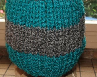 Mixed Hat white, Teal and gray 3/4 years - beaded sides - handmade