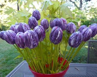 "Bouquet of 10 ""tulips"" variegated purple"