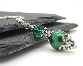 Emerald Bridesmaid Pearl Necklace, Forest Bridesmaid Jewellery Dark Green Bridal Sets Crystal Drop Pendants Bridal Party Gifts Wedding Sets