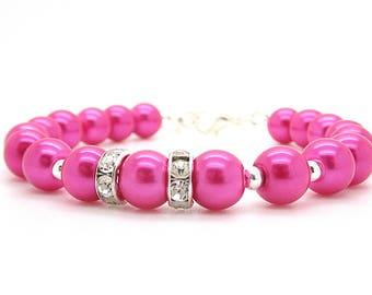Hot Pink Bridesmaid Pearl Bracelet, Bright Pink Wedding Jewellery, Fuchsia Bridal Party Sets, Simple Pink Bracelet, Bridesmaid Gift Ideas