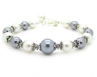Grey and Ivory Pearl Bridesmaid Bracelet, Pewter Wedding Jewellery, Platinum Bridesmaid Gifts, Charcoal Bridal Bracelet, Pearl Bridal Sets