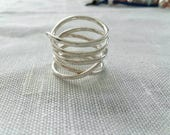Sterling Silver Ring Wrap Around Ring Women Ring Hammered Ring