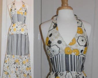Vintage 60s 70s Young Innocents Halter Dress Maxi Full Length Floral and Stripe S