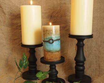 Flat Black Pillar Candle Holder Set of 3, Style #2 - Lathe turned - Made in USA