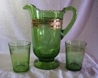 Antique EAPG National McKee Glass Green Pitcher and 2 Tumblers with Gold Trim