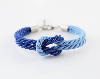 Tie the knot bracelet - bridesmaid bracelet - blue theme wedding - rope bracelet - will you be my bridesmaid bracelet -nautical wedding gift