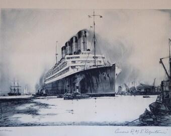 Antique Cunard Aquitania Lithograph - Framed RMS Aquitania - Frank H. Mason - Original Cunard Lines Oak Frame - Marine Nautical History