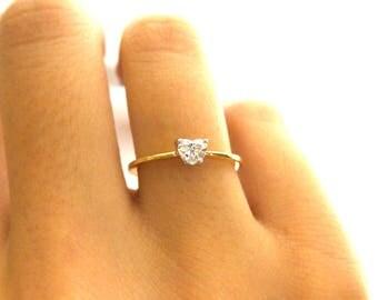 Diamond Engagement Ring/ Heart Shape Diamond Ring/ heart shaped Diamond / Delicate Diamond Solitaire Ring/ Dainty Diamond Ring /