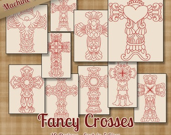 Fancy Crosses Machine Embroidery Patterns / Designs - 5 Sizes - 10 Designs - 2 Sizes Each - Religious Christian Jesus Church