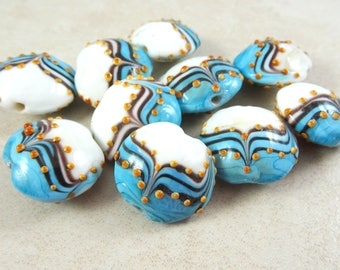 Lampwork Beads - Turquoise and White with Black and Gold Design, Turquoise Lampwork - Lamp Work Lentil Beads - 18mm - Qty. 2