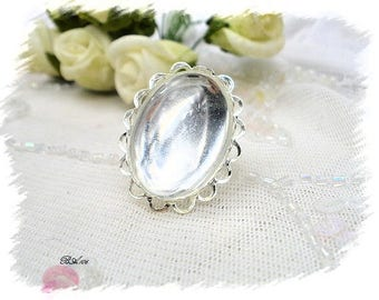ring silvered glass and metal lace BA106